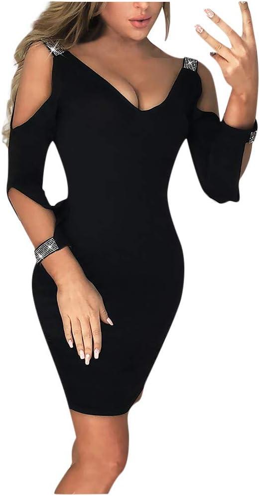Women Sexy Pencil Dress V Neck Cold Shoulder Formal Slim Cocktail Dress Ladies Elegant Bodycon Party Mini Dress