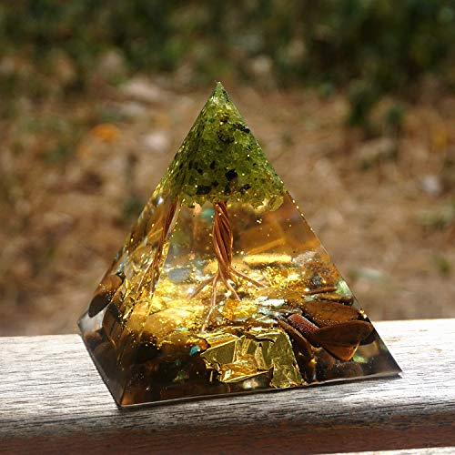 LANGYA Árbol Hecho a Mano de la Vida Pirámide orgónica 60mm Peridoto con Piedra de Cristal Ojo de Tigre, acumulador orgón, EMF Orgonite Energy Chakra