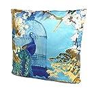 YöL Satin Cushion Pillow Soft Case Cover Teal Gold Foil Embellished Birds Floral 45cm