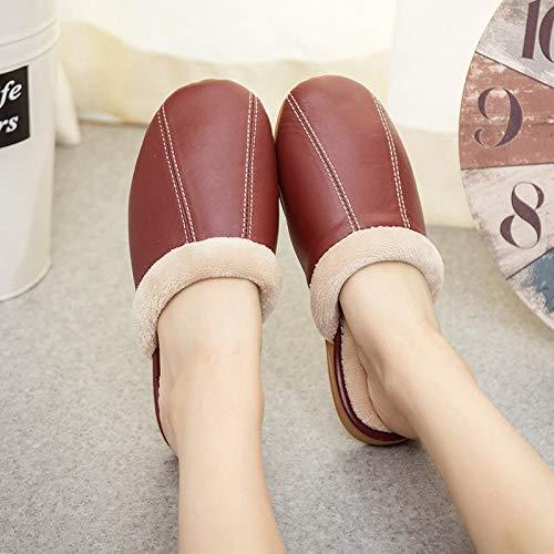 Flip Flop-GQ Zapatillas de Piel de Oveja de Invierno Zapatillas de casa Antideslizantes para Interiores Zapatillas de algodón de Cuero cálido-Vino Tinto_37-38 Yardas