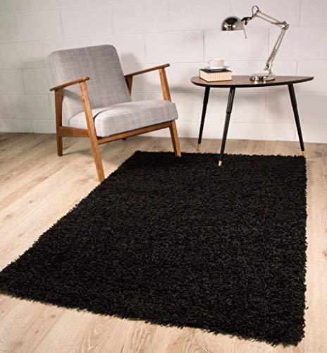 Tapis Shaggy Noir Luxueux et Super Doux 7 Tailles Disponibles 60cmx110cm (2ft x 3ft7)