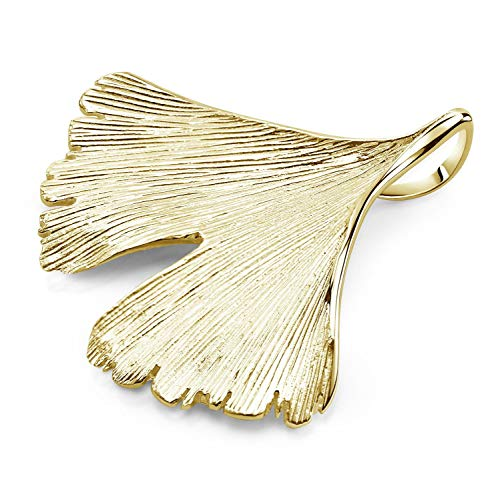 MATERIA Kettenanhänger Ginko Blatt Gold 925 Sterling Silber vergoldet KA-277-Gold_ohne Kette
