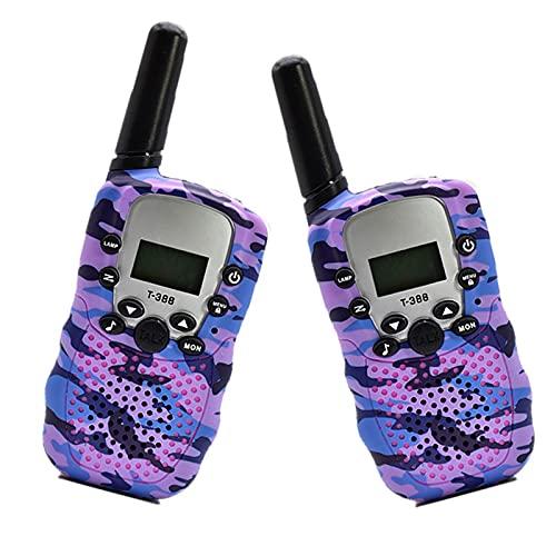 Walkie Talkie,para Niños Alcance Juguete, con LCD Retroiluminado Linterna Juegos Infantiles- purple