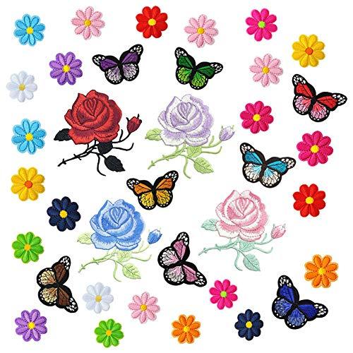 Accesorios para parches bordados, parches para planchar para ropa, 36 piezas de parches para coser con flores y mariposas, pegatinas de reparación para manualidades, decoración, sombreros, camisas