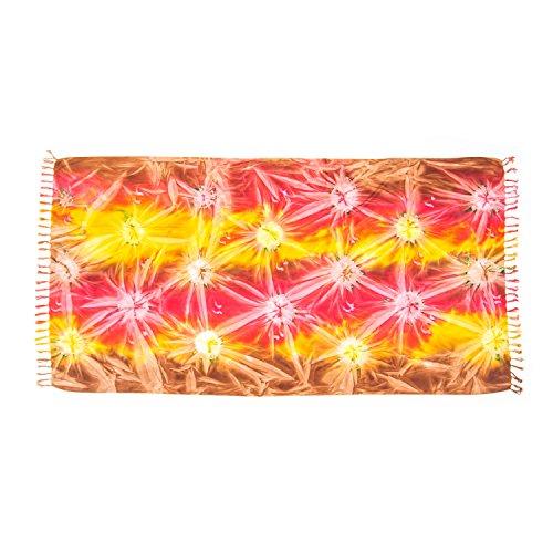 MANUMAR Damen Pareo blickdicht, Sarong Strandtuch mit Schnalle, Sommer Handtuch in rot gelb braun im Batik Design, XXL Übergröße 225x115cm, Hippie Sommer Kleid Sauna Haman Lunghi Strandkleid