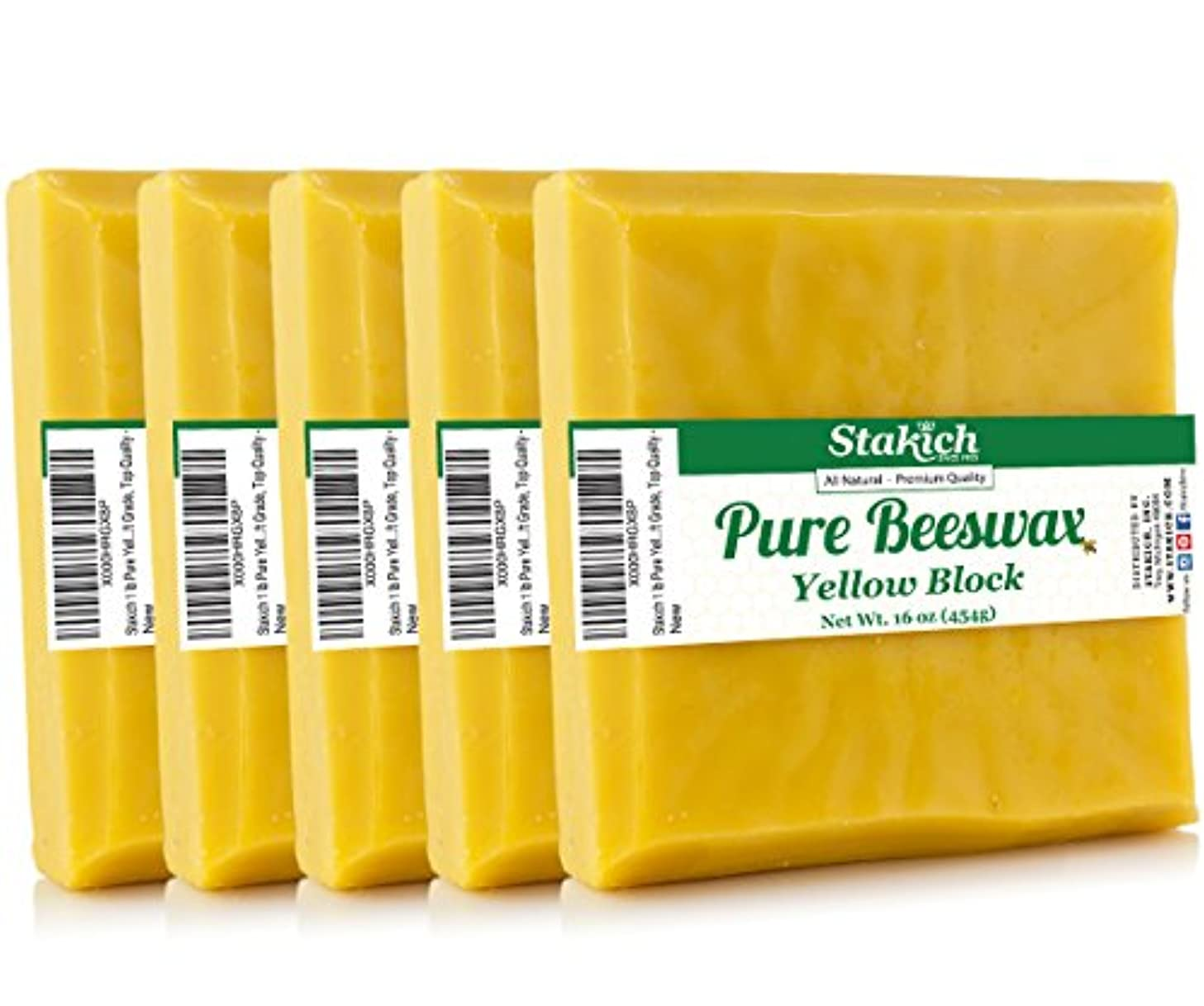 Stakich Pure Yellow Beeswax Block - 100% Natural, Craft Grade, Premium Quality - (5 lb (in 1 lb Blocks))