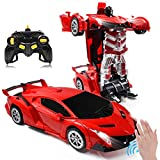 Zahooy RC Car Transforming Robot Model Toy,1:14 Gesture Sensing Drifting Remote Control Transform Vehicle,Deformed Racing with Realistic Engine Sounds & One-Button Transformation for Boys Girls (Red)