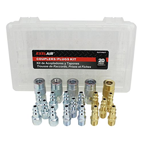 EXELAIR by Milton EX0320MKIT - Air Coupler and Plug Accessory Kit - 1/4 M-Style Steel/Brass Couplers and 1/4 M-Style Steel/Brass Plugs - (20-Piece)