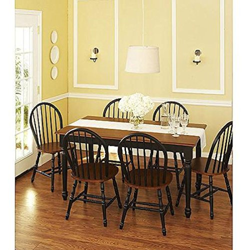 6. Better Homes and Gardens Autumn Lane 7 Piece Dining Set, Black and Oak