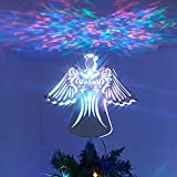 PEIDUO Christmas Clearance 11' RGB Praying Angel Tree Topper with Built-in Rotating Ripple Projector for Crown Xmas Tree Topper Decoration