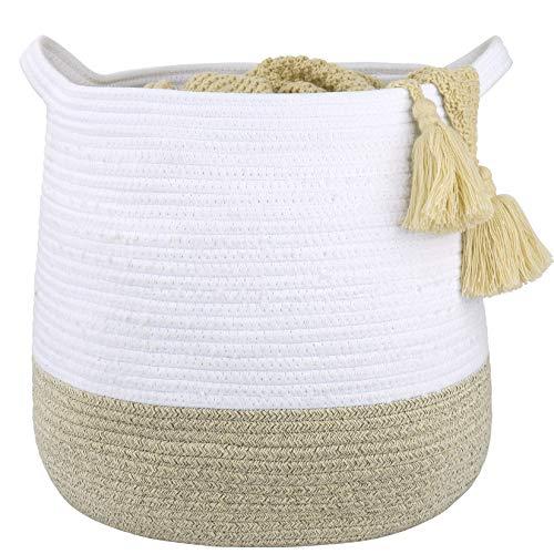 LA JOLIE MUSE Grande cesto portaoggetti intrecciato in corda di cotone di 38 cm, contenitore versatile, naturale e sicuro per bambini e neonati, 38 A * 36 D cm, bianco e sabbia