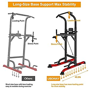 UBOWAY Power Tower -Pull Up Bar Stand &Dip Station Adjustable Height Heavy Duty Multi-Function Fitness Training Equipment Home Gym (Upgrade)
