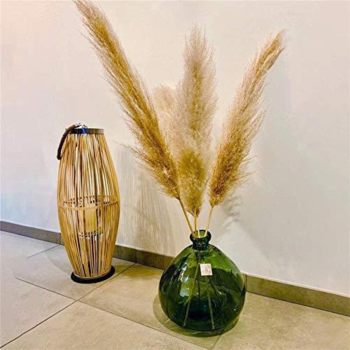 Ramo de cañas Hierba de pampa seca natural para decoración del hogar Manojo de flores artificiales (4pcs)