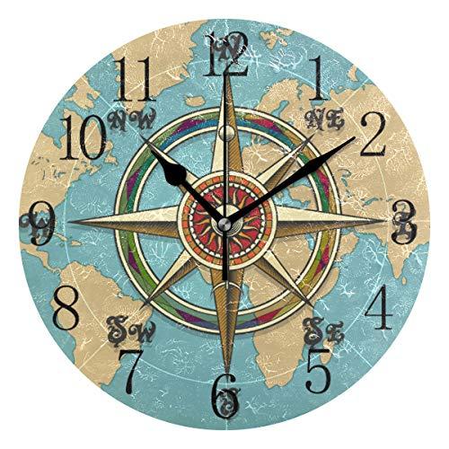 FELIZM Stille Wanduhr Vintage Kompass Karte 25 cm nicht tickend batteriebetrieben leise Bewegung Dekoration Uhr für Schlafzimmer Kinderzimmer, multi, Gold Pointer