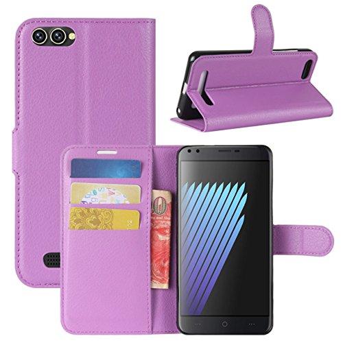 HualuBro Doogee X30 Hülle, Premium PU Leder Leather Wallet Handyhülle Tasche Schutzhülle Hülle Flip Cover mit Karten Slot für Doogee X30 5.5 Inch Smartphone (Violett)