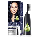 HJL Hair Color Permanent Hair Dye Cream with Comb Applicator 100% Gray Coverage Ammonia-Free Hair Coloring Kit, Blue Black, Pack of 1