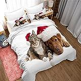 dsgsd La ropa de cama 3D es súper suave y cómoda. Perro gato animal sombrero de navidad 180x220cm Juego de funda nórdica Juego de cama doble tamaño Queen King Size 3 piezas Funda de edredón Juego de f