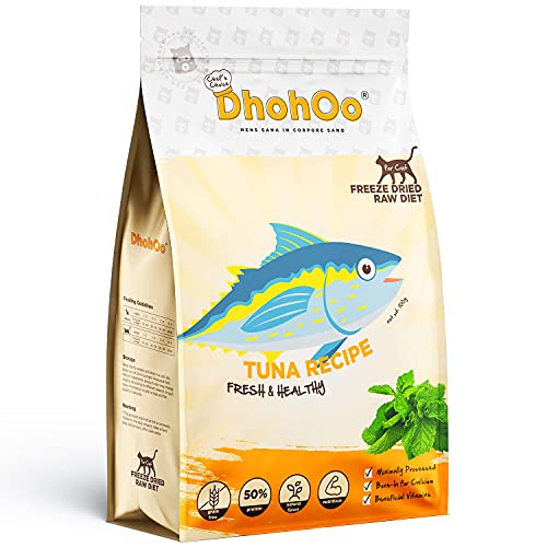 Dhohoo Natural Cat Treats, Freeze-Dried Cat Treats Rich in Protein, Healthy Cat Snacks, Grain-Free and Nutritious (Tuna 200g)