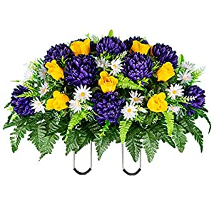 Sympathy Silks Artificial Cemetery Flowers – Realistic Vibrant Roses, Outdoor Grave Decorations – Non-Bleed Colors, and Easy Fit – 1 Purple Mum and Yellow Rose Saddle for Headstone