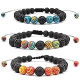 Souarts 3pcs Unisexe Bracelet Couple Yoga Accessoire Pierre Réglable Bracelet de Diffuseur pour Femme Homme Cadeau Noël Anniversaire Original