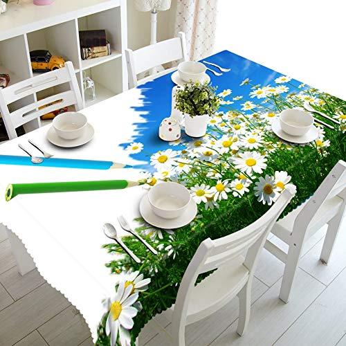 XXDD 3D Tischdecke Weiß Sonnenblume Buntes Schmetterlingsmuster Verdicken Sie Baumwolle Rechteckige Tischdecke Home Decor Variation A5