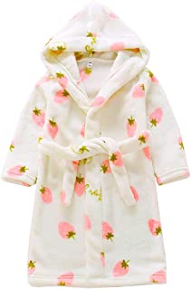 Kids Robe Soft Fleece Hooded Bathrobe Sleepwear for Girls Boys (Beige, 10 Years)
