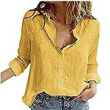 Blusa de mujer casual sólido manga larga botones camisas estrella impresión gráficos camisetas para adolescentes casual Tops, 01-amarillo, S