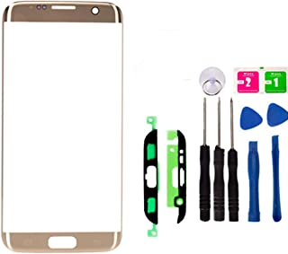 Replacement Repair Front Outer Top Glass Lens Cover Screen for Samsung Galaxy S7 Edge Mobile Phone Curved Surface Parts with Adhesive Tools Kit (Gold)