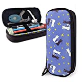 Bolígrafo Estuche para lápices Estuche de gran capacidad Papelería para útiles escolares Material de oficina y bolsa de viaje (Estrella de luna de gato en blanco y negro)
