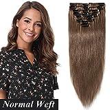 SEGO Extension Clip Noisette Cheveux Naturelle Mèche Bande pas Cher Rajout Humains Froid Vrai [Volume Léger] 55cm - 06#Marron Clair