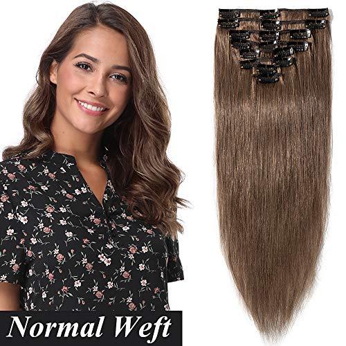 Clip in Extensions Echthaar Haarverlängerung Haarteil 8 teiliges SET günstig Remy Haar weich Hellbraun#6 14