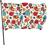 Viplili Flagge/Fahne, Happy Thanksgiving Day Seamless Pattern Flag: 3x5 FT Flag Tough The Strongest, Longest Lasting Flag National Flag Outdoor Flags