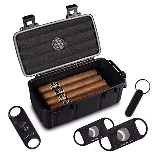Mantello Portable Travel Cigar Humidor Case - Gift Set for Men - Fits 10 Cigars with 2 Ring Cigar Cutter, 1 V-Cut Cutter and 1 Cigar Punch - Portable, Airtight Seal, Crush-Proof - 8.80'x 5.18' Black