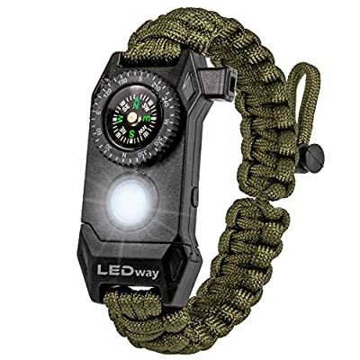 A2S Protection LEDway Paracord Bracelet Tactical Survival Gear Kit 6-IN-1-70% Larger Compass LED SOS Emergency Function Flashlight -Fire Starter Emergency Knife & Whistle (Green Adjustable Size)