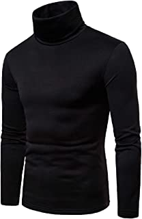 YYG Men's Solid Thick Fall & Winter Long Sleeve Turtle Neck T-Shirt Tee Tops