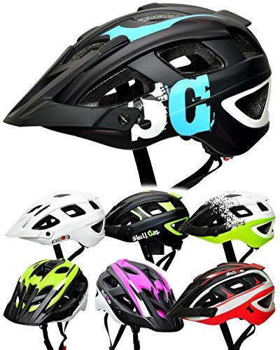 Skullcap® Fahrradhelm & MTB Helm + Visier für Herren & Damen, Farbe: Blau Schwarz Weiß Matt, Größe: L