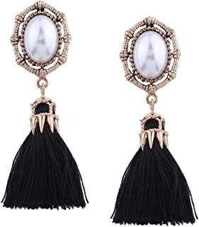 Solememo Ancient Silver Tone Ethnic Bohemian Faux Pearl Stud with Long Thread Fringe Tassel Statement Earrings