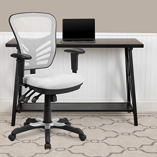 EMMA + OLIVER Mid-Back White Mesh Multifunction Ergonomic Office Chair - Adjustable Arms