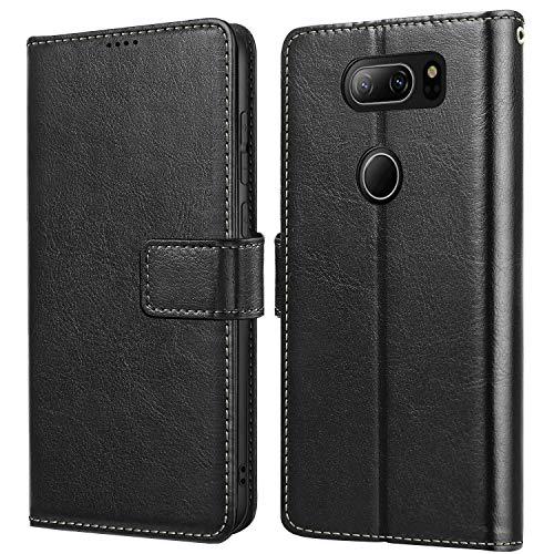 Vukgahao Phone Case for LG V30 and LG V35 Flip Leather Cover for LG V30s Holsters Wallet Case Black
