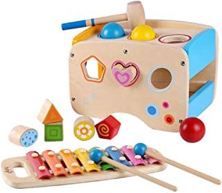 Hammering Pounding Toys Wooden Educational Toy Xylophone Shape Sorter, 3 in 1 Wooden Educational Set Pounding Bench Toys f...