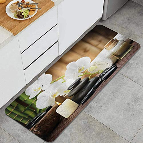 FOURFOOL Kitchen Rugs,Spa Style Arrangement with Stones Candle Flowers and Bamboo Art,Non-Slip Kitchen Mats Washable Rubber Backing Doormat Rug