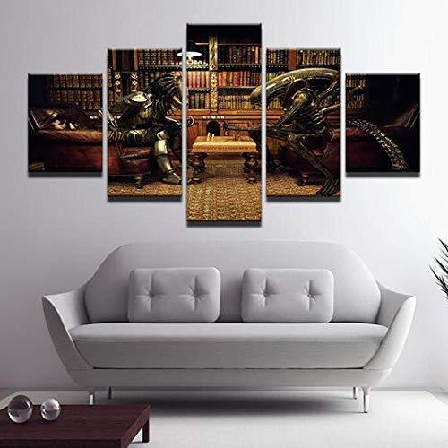 5 Piezas Lona Murales Cuadro Moderno Lienzo Arte Pared Alta Definición Pintura Decorativa Home Dormitorio Óleo Lona Pintura Mural Regalos-Alien Vs Predator Jugando Al Ajedrez(Con Marco)/200X100CM