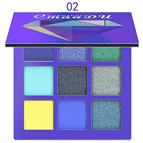 JSZWGC 9 Couleurs Glitter Mat Poudre Fard à paupières Mode Maquillage Palette Ombre à paupières pigmentées de beauté cosmétiques Fournitures Ombre (Co