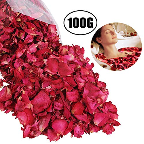 Pétalos de Rosa Secos Naturales Lvcky100 g de pétalos de Rosa roja para pies, baño, SPA, Boda, Confeti, casa, Fragancia, Manualidades, Accesorios