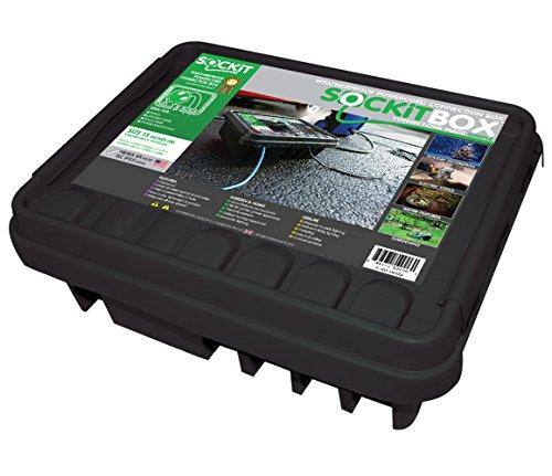SOCKiTBOX 100533212 Weatherproof Black Large 10ea Box, White