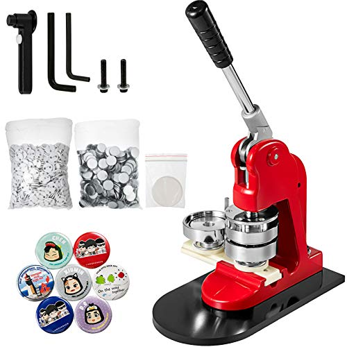 Mophorn Button Maker 58mm Badge Maker Machine 2.28 inch Badge Punch Press Pin Button Maker with Free 500 Pcs Button Parts and Circle Cutter (500pcs,58mm 2-1/4')