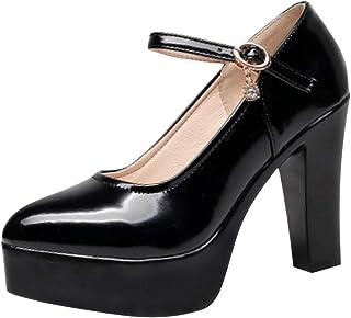 Femme Cheville Sangle Ronde Bout Fermé Talon Aiguille Plateforme Escarpins Chaussures NOUVEAU
