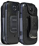 Nakedcellphone Fitted Series Compatible with Verizon Kyocera Cadence 4G LTE S2720 Phone Case, [Black Vegan Leather] Form-Fit Cover with [Built-in Screen Protection] and [Metal Belt Clip]