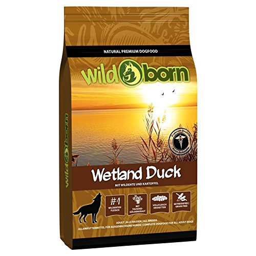 Wildborn Hundefutter getreidefrei Wetland Duck 15 kg Trockenfutter für Erwachsene Hunde mit frischem Entenfleisch