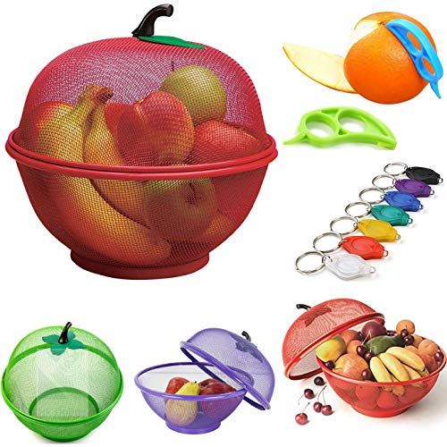 Apple Mesh Fresh Fruits Basket, Keychain Torch & Citrus Peeler -Keep Unwanted Pets & Insects Out (Purple with Peeler & Torch)